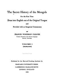 The Secret History of the Mongols  Translation PDF