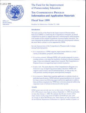The Comprehensive Program  Application for Grants