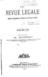 La Revue legale: Volume 16