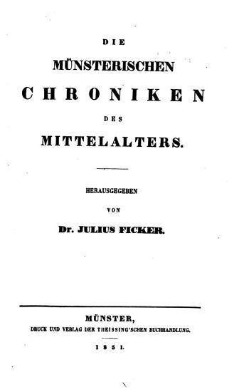 Die Geschichtsquellan des Bistums M  nster PDF