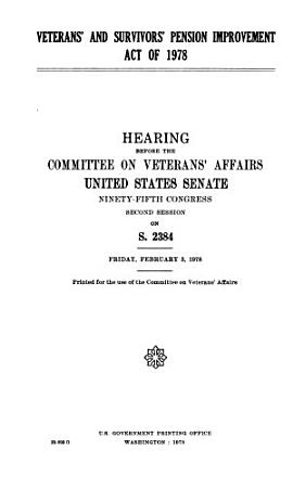 Veterans  and Survivors  Pension Improvement Act of 1978 PDF