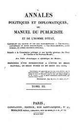 Annales politiques et diplomatiques: ou Manuel du publiciste et de l'homme d'état, Volume3