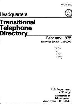 Headquarters DOE Telephone Directory PDF
