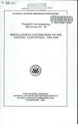 Miscellaneous Letters Sent by the General Land Office  1796 1889 PDF