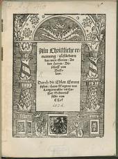 Ain Christliche ermanung, zu fürdern das wort Gottes, An den Herren, Bischoff von Breßlaw