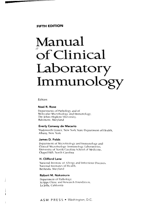 Manual of Clinical Laboratory Immunology PDF