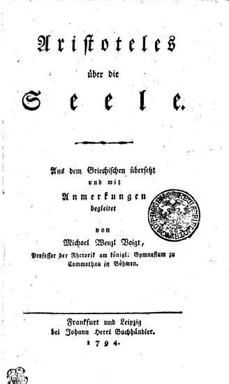 Aristoteles   ber die Seele PDF