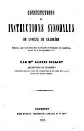Constitutions et instructions synodales du diocèse de Chambéry