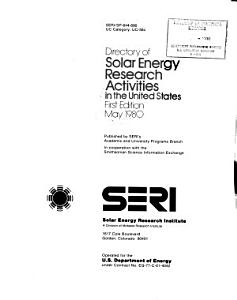Directory of solar energy research activities in the United States PDF