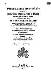 Diplomatica pontificia, ossieno Osservazioni paleografiche ed erudite sulle bolle dei papi