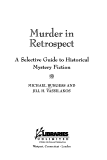 Murder in Retrospect Book