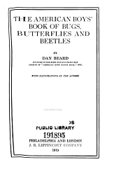The American boys' book of bugs, butterflies and beetles