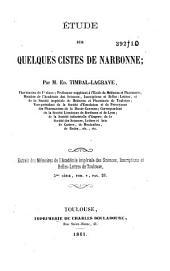 Etude sur quelques Cistes de Narbonne