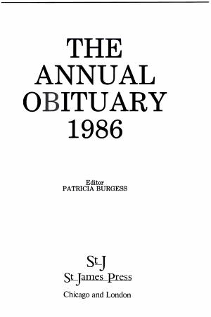 Annual Obituary, 1986