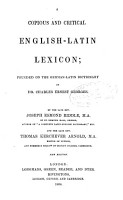 A Copious And Critical English Latin Lexicon