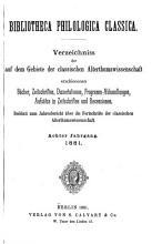 Bibliotheca philologica classica PDF