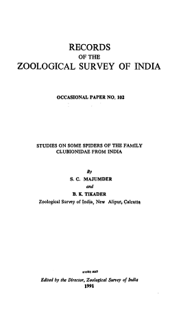 Studies on Some Spiders of the Family Clubionidae from India PDF