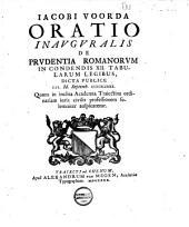Oratio de prudentia Romanorum in condendis XII tabularum legibus