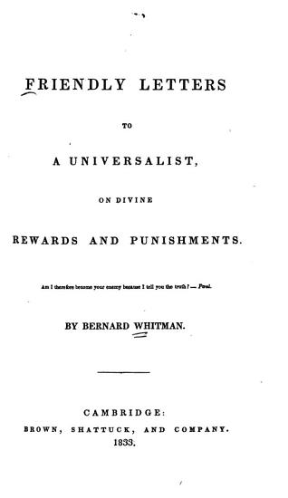 Friendly Letters to a Universalist on Divine Rewards and Punishments PDF