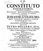 De constituto possessorio, resp. Henrico Ernesto Flörke. Ed. II.
