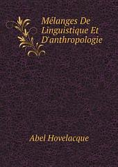 M?langes De Linguistique Et D'anthropologie