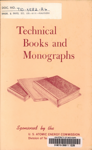 Technical Books   Monographs Sponsored by the U S  Atomic Energy Commission