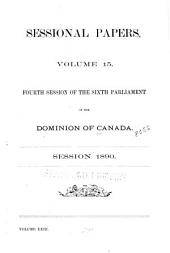 Sessional Papers of the Dominion of Canada: Volume 23, Issue 15