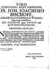 Dissertatio moralis de parsimonia, quam viro celebratissimo, magno Daniele Omeisio, ... publico eruditorum examini subjiciet Christianus Fridericus Bischoff, baruthinus, a. d. 28. septembr. A. O. R. 1707