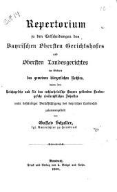 Repertorium zu den Entscheidungen des bayerischen obersten Gerichtshofes und obersten Landesgerichtes