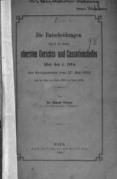 Die Entscheidungen des k.k. österr. obersten Gerichts- und Cassationshofes über den [Paragraphen] 199a des Strafgesetzes vom 27. Mai 1852 aus der Zeit von Ende 1850 bis Ende 1878