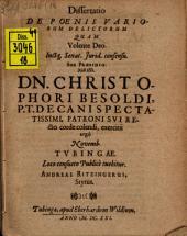 Diss. de poenis variorum delictorum