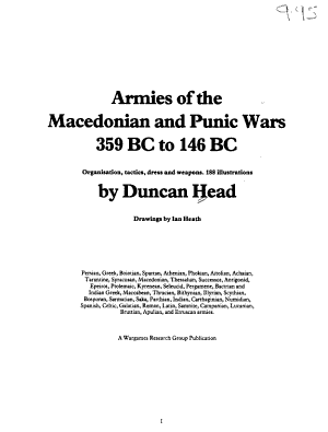 Armies of the Macedonian and Punic Wars  359 BC to 146 BC