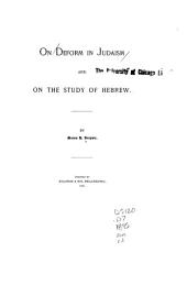 On Deform in Judaism: And on the Study of Hebrew