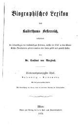 Biographisches lexikon des kaiserthums Oesterreich: enthaltend die lebensskizzen der denkwürdigen personen, welche seit 1750 in den österreichischen kronländern geboren wurden oder darin gelebt und gewirkt haben, Band 27