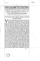 Extrait de l'arrest du Conseil d'Etat du vingt-un avril mil six cens soixante-quatre, portant reglement general pour les peages qui se leueront sur la Saosne [Saône]. [Signé de Guenegaud]