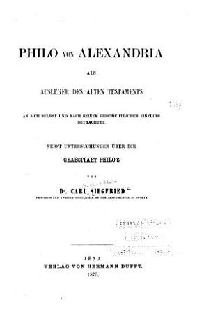 Philo von Alexandria als Ausleger des Alten Testament PDF