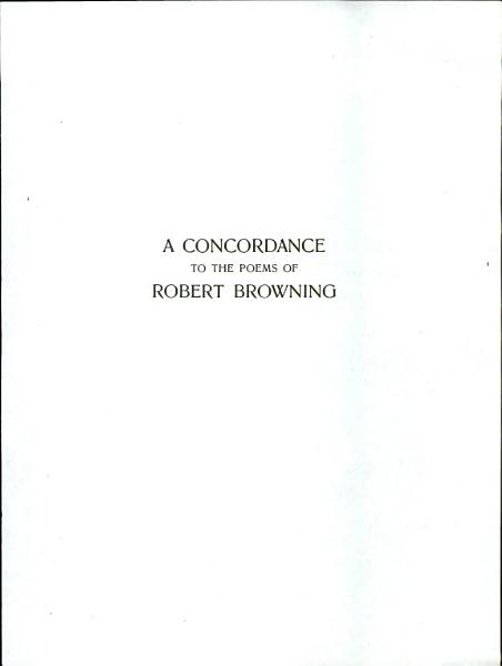 Download A Concordance to the Poems of Robert Browning Book