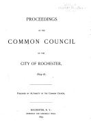 Proceedings of the Common Council  for the City of Rochester  for     PDF