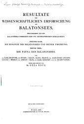 Resultate der wissenschaftlichen Erforschung des Balatonsees: Band 2