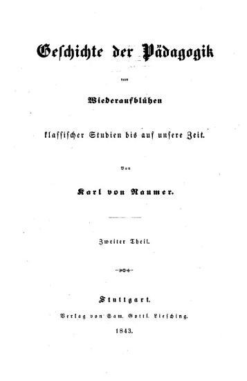 Geschichte der P  dagogik vom Wiederaufbl  hen klassischer Studien bis auf unsere Zeit PDF