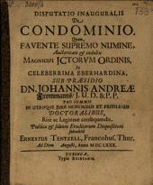 Disputatio inauguralis de condominio