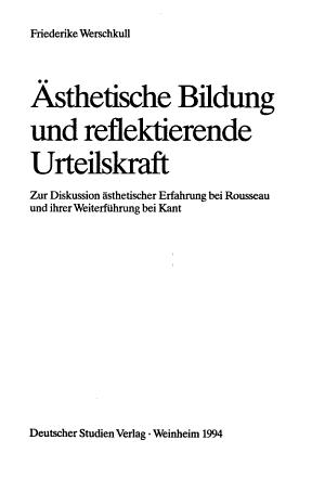 sthetische Bildung und reflektierende Urteilskraft PDF
