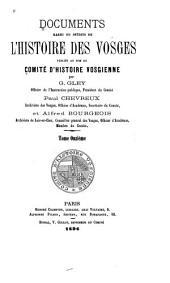 Documents rares ou inédits de l'histoire des Vosges: Volume11