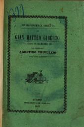 Corrispondenza segreta di Gian Matteo Giberto ... col cardinale Agostino Trivulzio dell' anno MDXXVII.