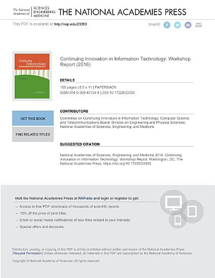 Continuing Innovation in Information Technology PDF