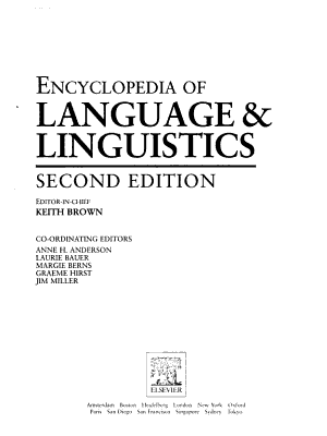 The Encyclopedia of Language and Linguistics  Mel N PDF