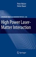 High Power Laser Matter Interaction PDF