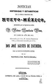 Noticias historicas y estadisticas de la antigua provincia del Nuevo-México