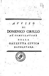 Avviso di Domenico Cirillo al compilatore della Gazzetta Civica Napoletana