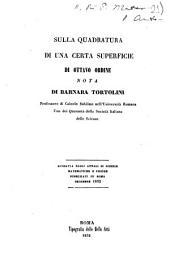 Sulla quadratura di una certa superficie di ottavo ordine nota di Barnaba Tortolini